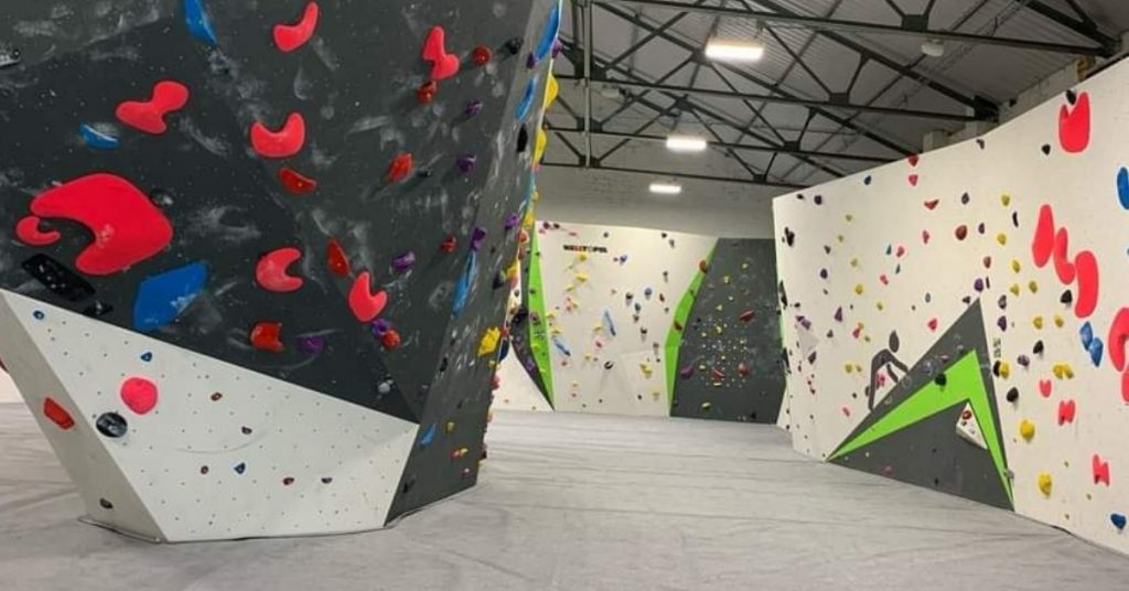 Interior view of Freeklime bouldering gym