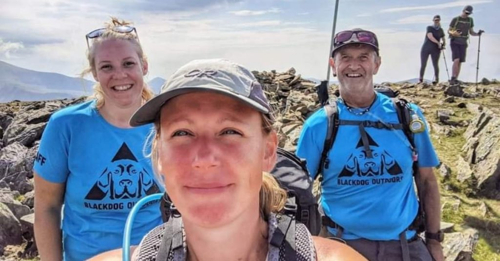 L-R Corinna Parry (mental health first aider). Felicity Turner (hill skills officer) and Ian Holden (trainee mountain leader)