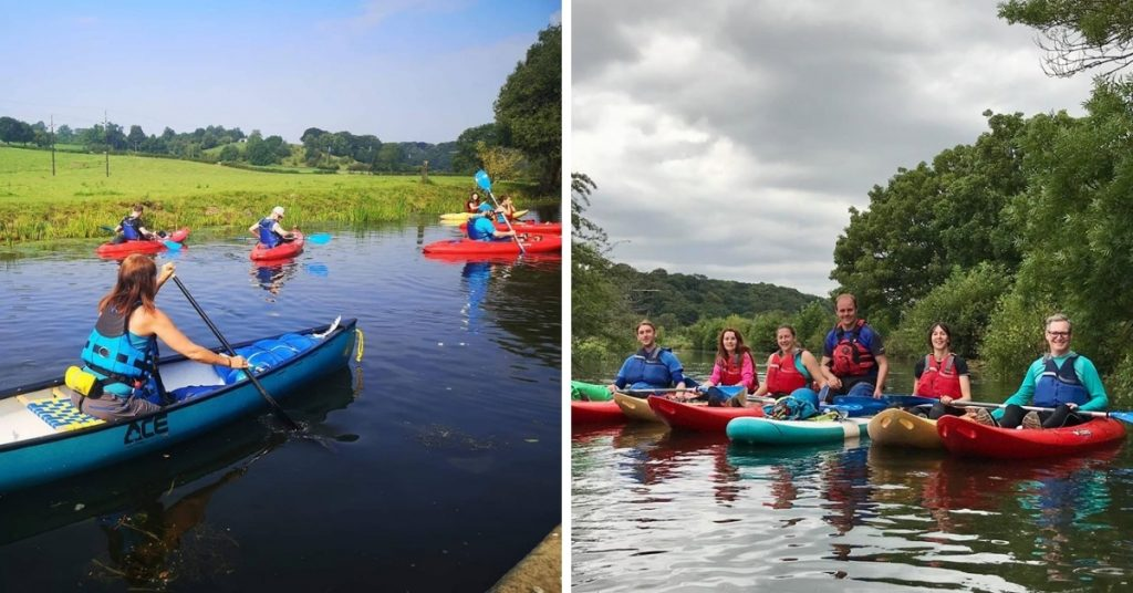 Montage image featuring BDO paddlesports attendees and instructors in their open-top kayaks.
