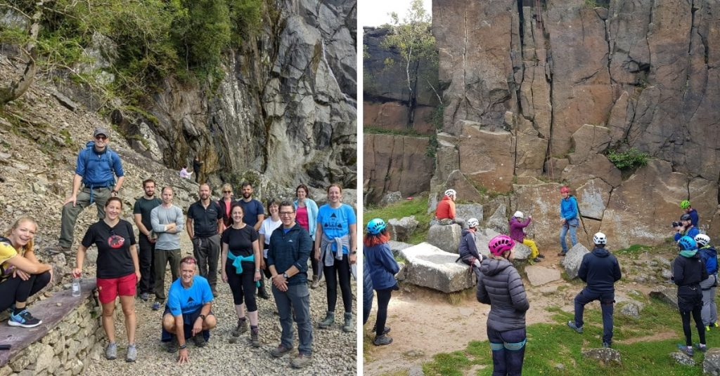 (L) Trip to Aber Falls, North Wales. (R) attendees at Introduction to rock climbing, Lawrencefield, Peak District.