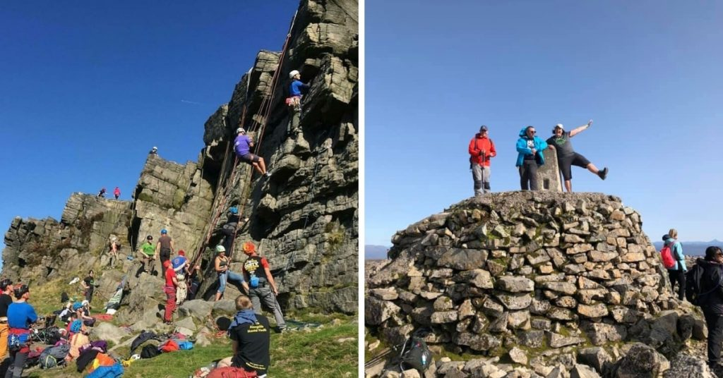 BDO rock climbing event (L) and BDO attendees at the summit of Ben Nevis.