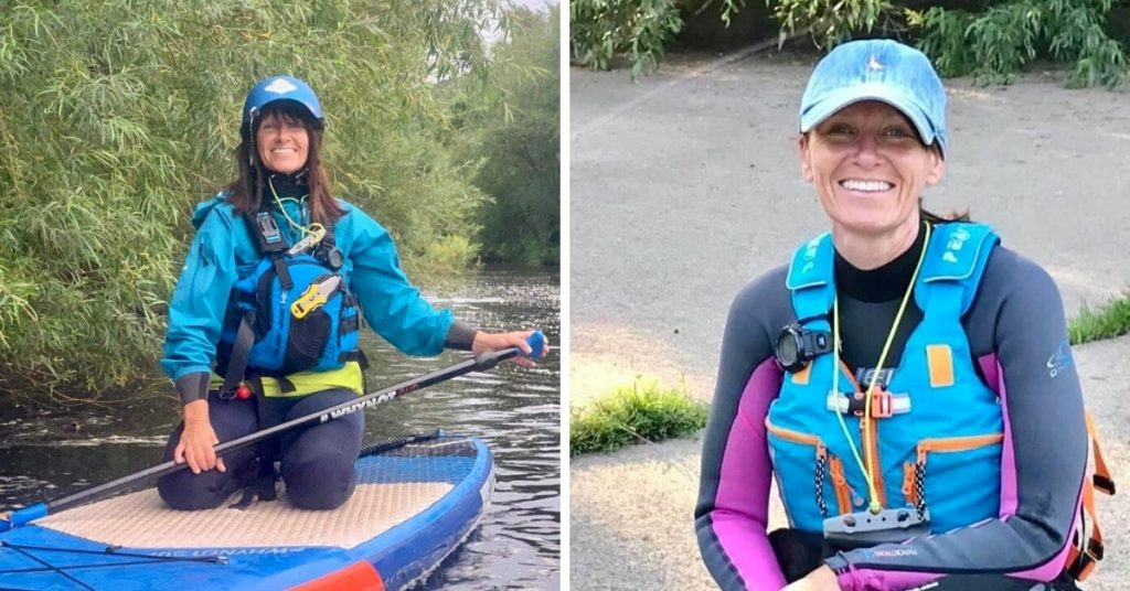 Left image shows Lynne kneeling on her paddleboard, on the water. Right image shows Lynne sat at the waterside, smiling.